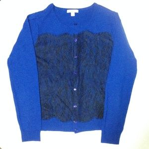 royal blue/black lace cardigan sweater